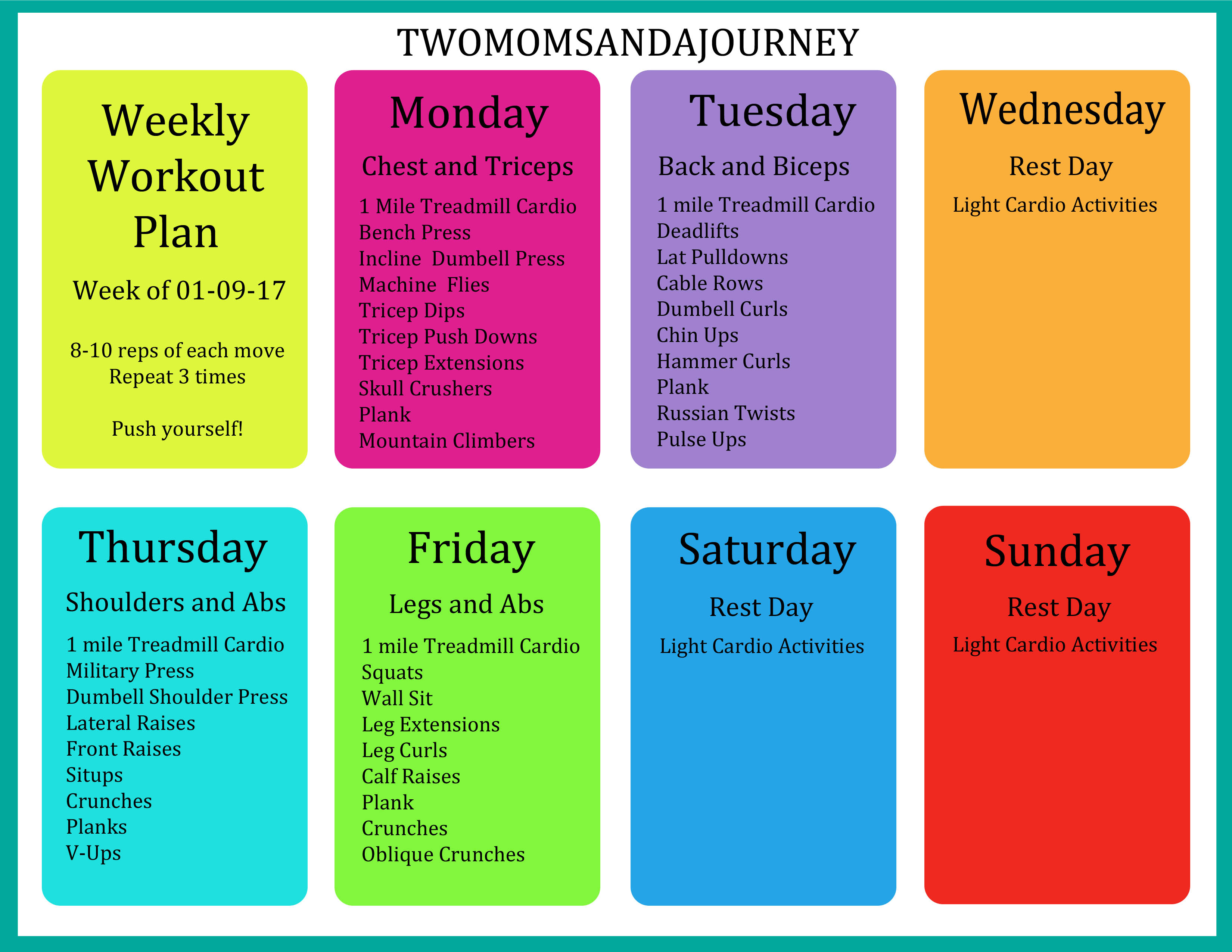 Weekly Workout Plan | Two Moms and a Journey